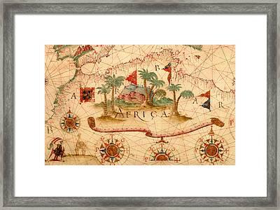Antique Map Of The Mediterranean 1600 Framed Print