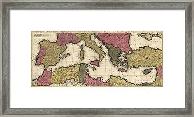 Antique Map Of The Mediterranean By Gerard Valck - Circa 1695 Framed Print by Blue Monocle