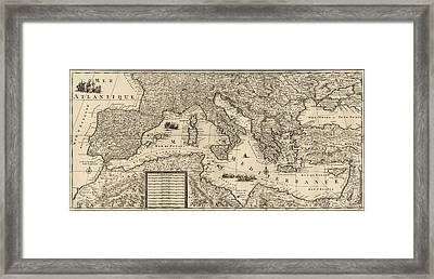 Antique Map Of The Mediterranean By Guillaume Sanson - Circa 1680 Framed Print by Blue Monocle