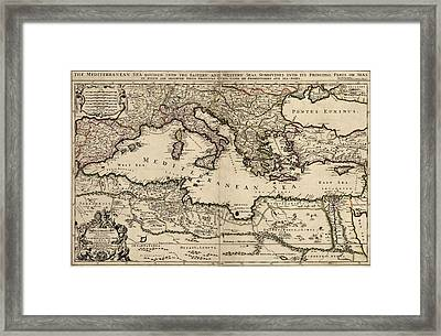 Antique Map Of The Mediterranean Region By William Berry - 1685 Framed Print by Blue Monocle