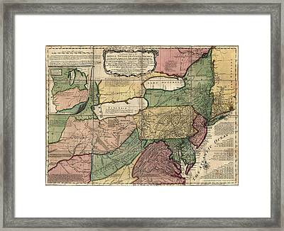 Antique Map Of The Middle American Colonies By Thomas Jefferys - 1758 Framed Print