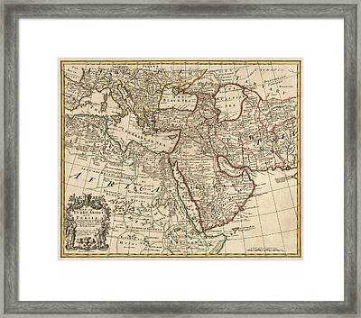 Antique Map Of The Middle East By Guillaume Delisle - 1721 Framed Print by Blue Monocle