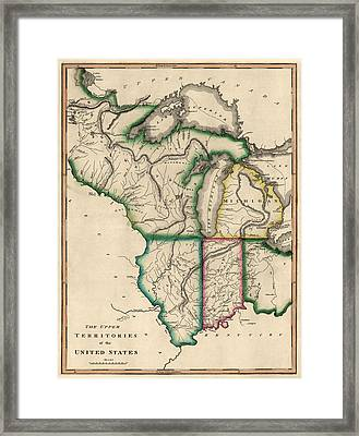 Antique Map Of The Midwest Us By Kneass And Delleker - Circa 1810 Framed Print