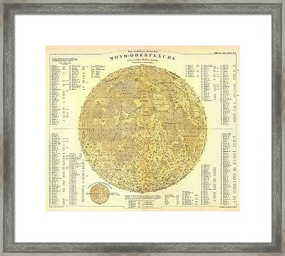 Antique Map Of The Moon Framed Print by Mountain Dreams