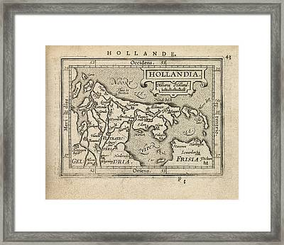 Antique Map Of The Netherlands By Abraham Ortelius - 1603 Framed Print