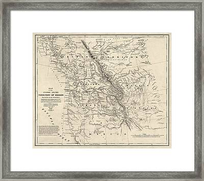 Antique Map Of The Pacific Northwest By Washington Hood - 1838 Framed Print by Blue Monocle