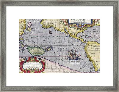 Antique Map Of The Pacific Ocean Framed Print