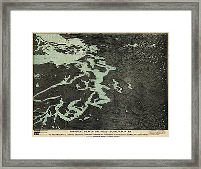 Antique Map Of The Puget Sound Washington By Charles H. Baker And Co. - 1891 Framed Print by Blue Monocle