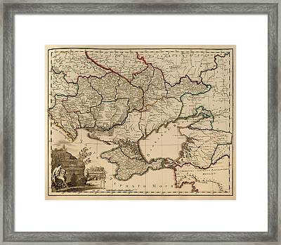 Antique Map Of The Russian Empire In Russian 1800 Framed Print by Mountain Dreams