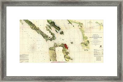 Antique Map Of The San Francisco Bay Area 1856 Framed Print by Mountain Dreams