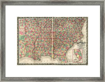 Antique Map Of The Southeast Us By Joseph Hutchins Colton - 1861 Framed Print by Blue Monocle