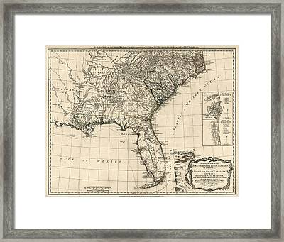 Antique Map Of The Southeastern United States By Bernard Romans 1776 Framed Print By Blue