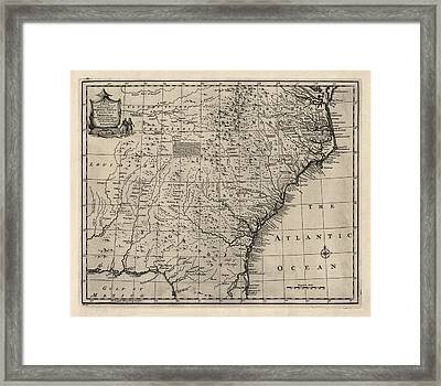 Antique Map Of The Southern American Colonies By Emanuel Bowen - 1752 Framed Print