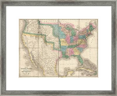Antique Map Of The United States By David Burr - 1839 Framed Print by Blue Monocle