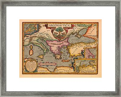 Antique Map Of The Voyage Of The Argonauts 1620 Framed Print