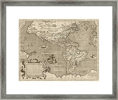 Antique Map Of The Western Hemisphere By Arnoldo Di Arnoldi - Circa 1600 Framed Print