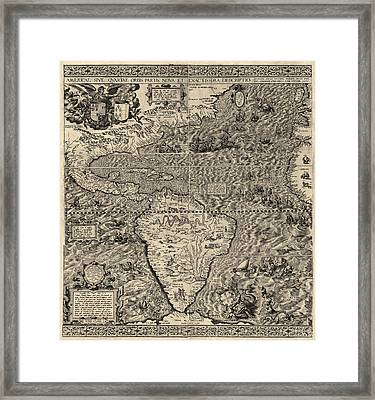 Antique Map Of The Western Hemisphere By Diego Gutierrez - 1562 Framed Print