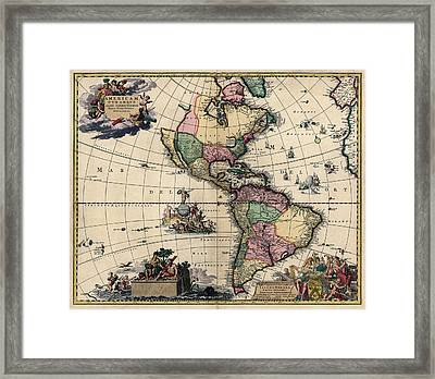 Antique Map Of The Western Hemisphere By Gerard Van Keulen - Circa 1710 Framed Print