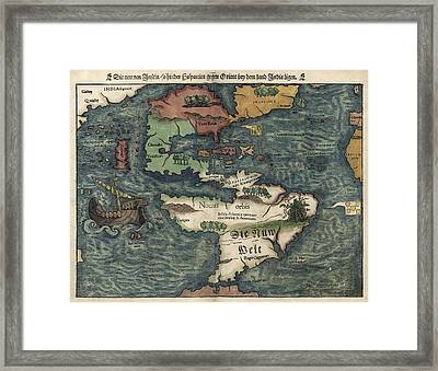Antique Map Of The Western Hemisphere By Sebastian Munster - Circa 1550 Framed Print