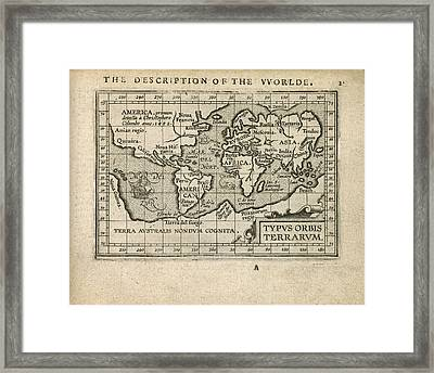 Antique Map Of The World By Abraham Ortelius - 1603 Framed Print