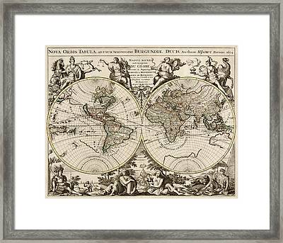Antique Map Of The World By Alexis Hubert Jaillot - 1694 Framed Print by Blue Monocle