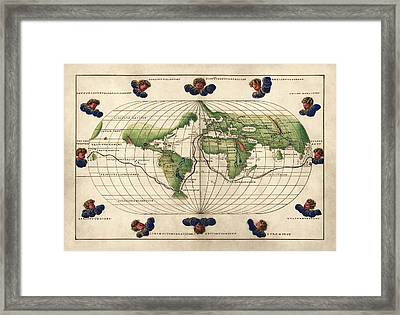 Antique Map Of The World By Battista Agnese - Circa 1544 Framed Print by Blue Monocle