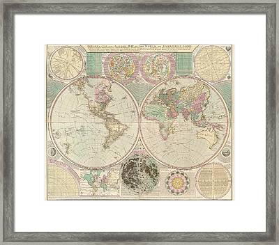 Antique Map Of The World By Carington Bowles - Circa 1780 Framed Print