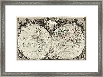 Antique Map Of The World By Gilles Robert De Vaugondy - 1743 Framed Print by Blue Monocle