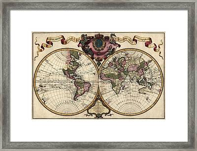 Antique Map Of The World By Guillaume Delisle - 1720 Framed Print by Blue Monocle