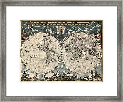 Antique Map Of The World By Joan Blaeu - 1664 Framed Print by Blue Monocle