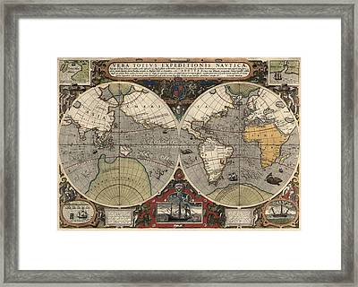 Antique Map Of The World By Jodocus Hondius - Circa 1565 Framed Print by Blue Monocle