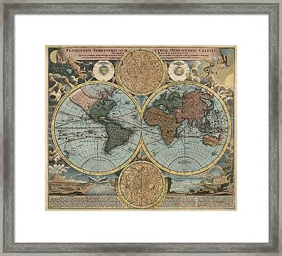 Antique Map Of The World By Johann Baptist Homann - Circa 1716 Framed Print by Blue Monocle