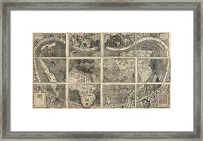 Antique Map Of The World By Martin Waldseemuller - 1507 Framed Print by Blue Monocle