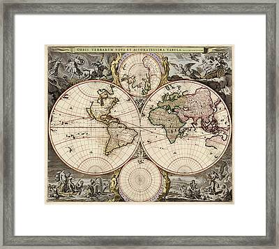 Antique Map Of The World By Nicolaes Visscher - Circa 1690 Framed Print by Blue Monocle