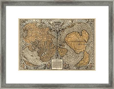 Antique Map Of The World By Oronce Fine - 1531 Framed Print by Blue Monocle