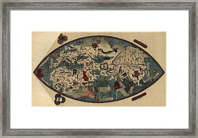 Antique Map Of The World By Paolo Del Pozzo Toscanelli - Circa 1450 Framed Print by Blue Monocle