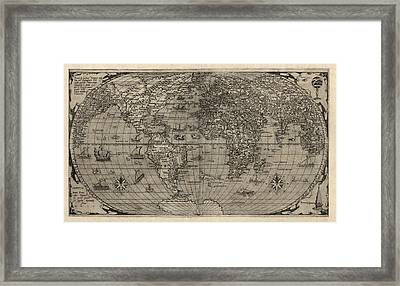Antique Map Of The World By Paolo Forlani - 1560 Framed Print