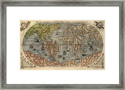 Antique Map Of The World By Paolo Forlani - 1565 Framed Print