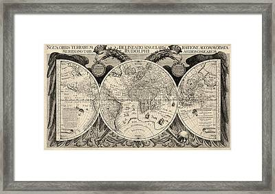 Antique Map Of The World By Philipp Eckebrecht - 1630 Framed Print by Blue Monocle