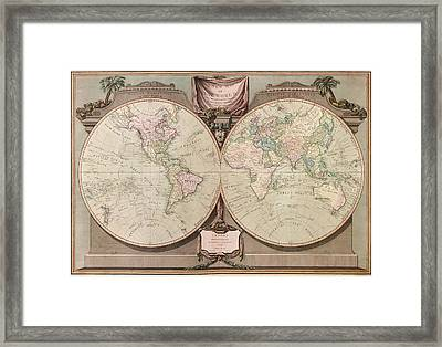 Antique Map Of The World By Robert Laurie And James Whittle - 1808 Framed Print by Blue Monocle