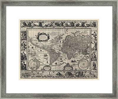 Antique Map Of The World By Willem Janszoon Blaeu - 1606 Framed Print by Blue Monocle
