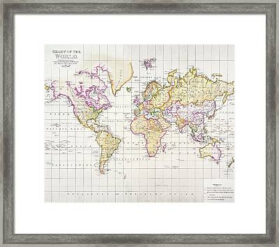 Antique Map Of The World Framed Print by James The Elder Wyld