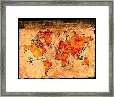 Antique Map Of The World Framed Print by Lane Erickson