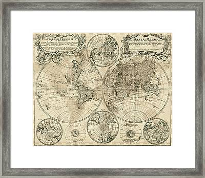 Antique Map Of The World Framed Print
