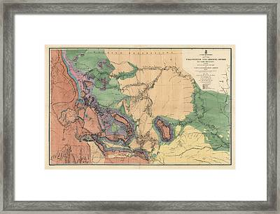 Antique Map Of The Yellowstone And Missouri Rivers By F. V. Hayden - 1869 Framed Print by Blue Monocle