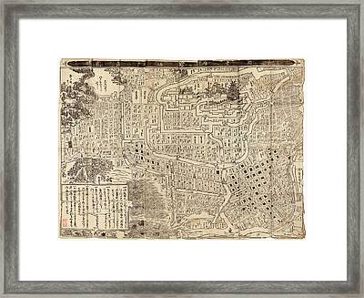 Antique Map Of Tokyo Japan - 1685 Framed Print by Blue Monocle