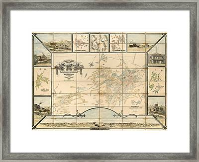 Antique Map Of Tombstone Arizona By Frank S. Ingoldsby - 1881 Framed Print by Blue Monocle