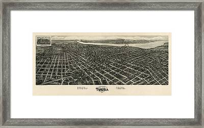 Antique Map Of Tulsa Oklahoma By Fowler And Kelly - 1918 Framed Print