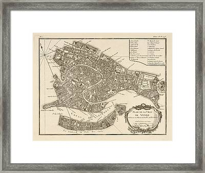 Antique Map Of Venice Italy By Jacques Nicolas Bellin - 1764 Framed Print