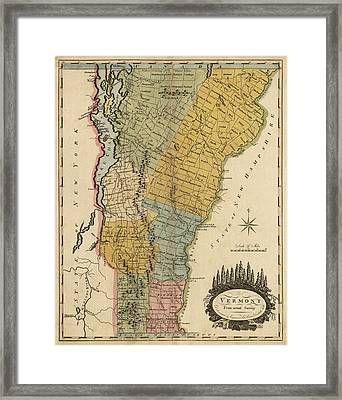 Antique Map Of Vermont By Mathew Carey - 1814 Framed Print
